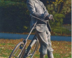 Statue of Elgar and his bicycle, by Jemma Pearson; outside Hereford Cathedral